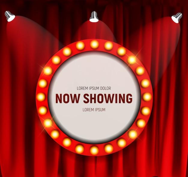 Realistico cinema retrò ora mostrando la scheda annuncio con cornice lampadina su tende. illustrazione