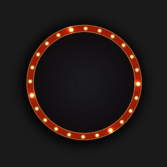 Tabellone per le affissioni al neon realistico cerchio retrò sullo sfondo scuro. modello per decorazione vintage e cartello.