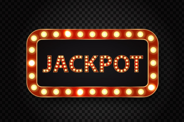 Tabellone per le affissioni al neon retrò realistico per jackpot con lampade incandescenti sullo sfondo trasparente.