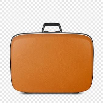 Primo piano realistico della valigia marrone in pelle vintage retrò isolato