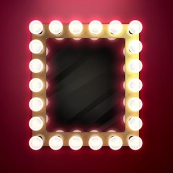 Retro specchio vintage realistico con illustrazione di lampadine. concetto di bellezza dietro le quinte.