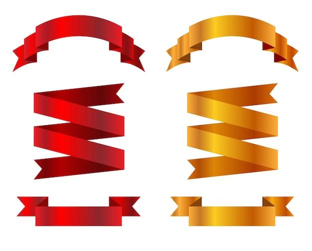 Banner di nastri realistici isolati su priorità bassa bianca. set di modello di nastro rosso e oro.
