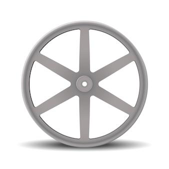 Orlo realistico della ruota in lega per auto. ruota in alluminio isolata su bianco