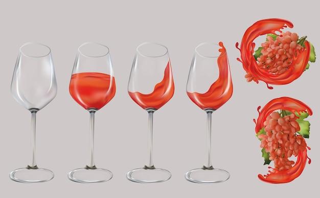 Uva rosa realistica. bicchiere di vino trasparente riempito con vino rosato e schizzi. illustrazione