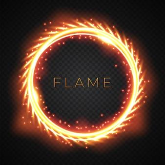 Cornice rotonda realistica con fiamma di fuoco leggero