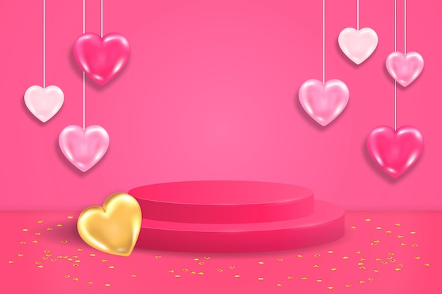 Podio di visualizzazione di lusso rotondo realistico. scena rosa di san valentino con cuori rosa e dorati, paillettes e piattaforma cilindrica per l'esposizione del prodotto.