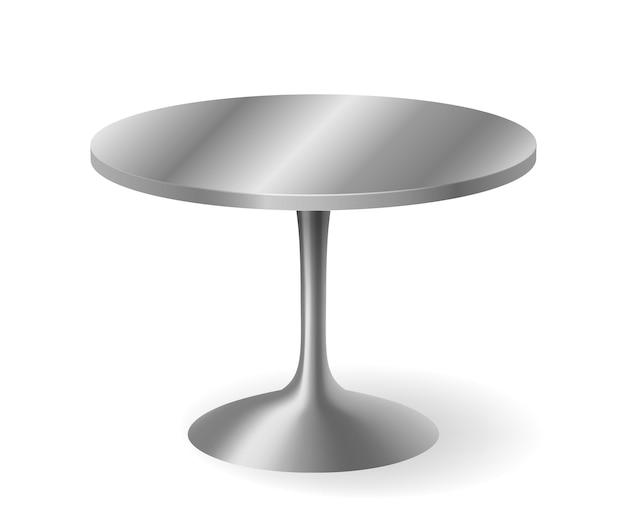 Tavolo rotondo realistico in metallo isolato. tavolo grigio brillante dettagliato con ombra.