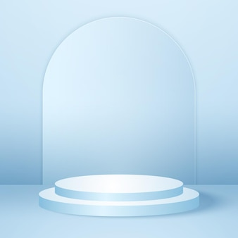 Podio rotondo realistico con modello di sfondo del prodotto della stanza studio vuoto blu mock up per la visualizzazione