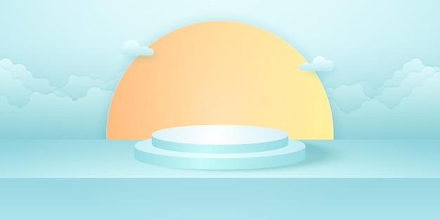 Podio rotondo realistico con il sole vuoto ciano della stanza dello studio e la nuvola sullo sfondo del cielo
