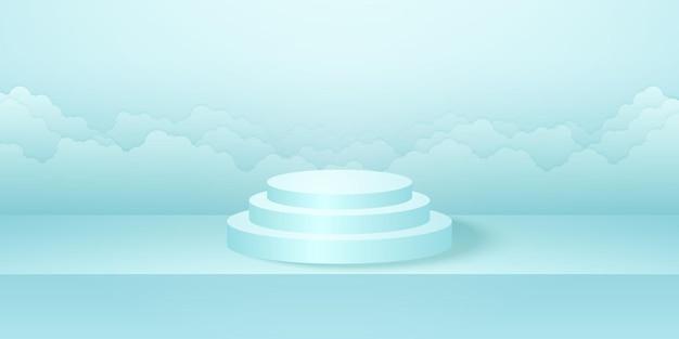 Podio rotondo realistico con sfondo ciano di cloudscape del prodotto della stanza dello studio mock up per la visualizzazione