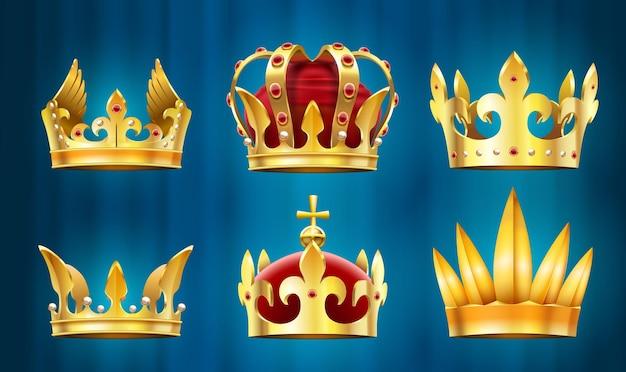 Corona reale realistica. gioielli re, corone di monarchi con pietre preziose incastonate.