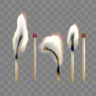 Partita di sicurezza realistica. set di fiammiferi in legno. illustrazione