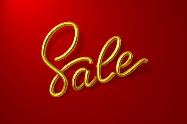 Calligrafia d'oro di vendita realistica su rosso