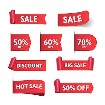 Realistico design della collezione di etichette di vendita Vettore Premium