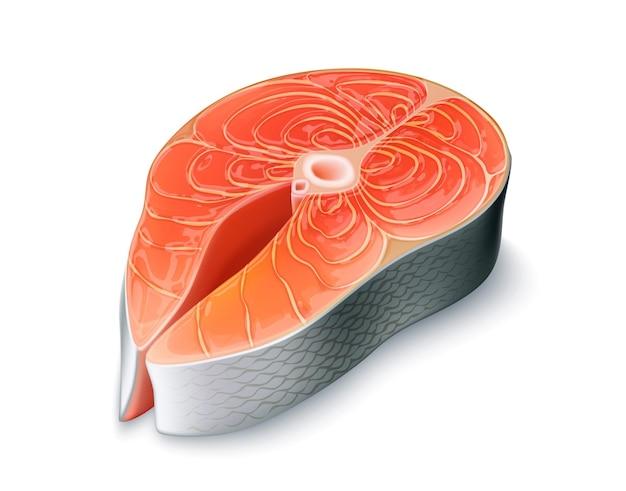 Bistecca di color salmone realistica isolata