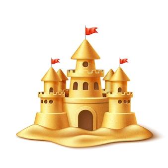 Realistico castello di sabbia, forte o fortezza con torri, cancelli e bandiere simbolo delle vacanze estive