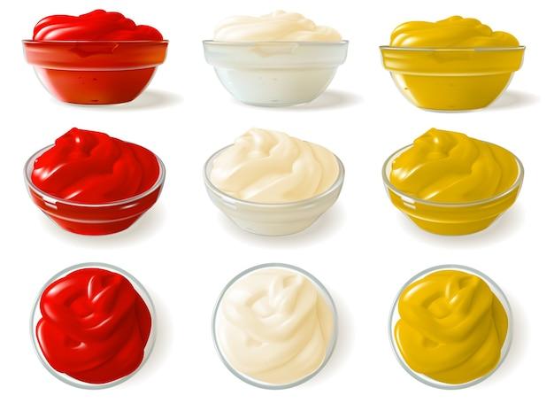 Set di salse realistiche. una serie di salse realistiche in ciotole di vetro con diverse angolazioni. ketchup, maionese e senape.