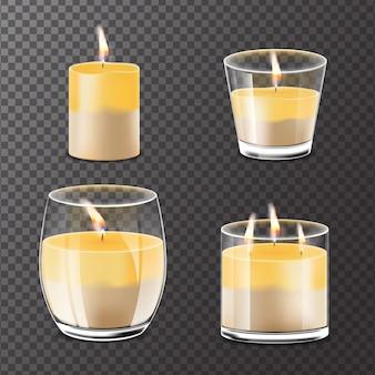 Collezione di candele profumate realistiche