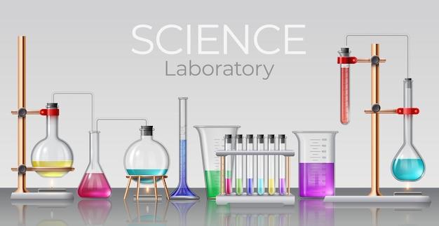 Laboratorio di scienze realistiche. vetreria da laboratorio chimica, bicchieri, provette, boccette e bottiglie con liquidi sperimentali, concetto di vettore 3d. banner o poster realistico del laboratorio di esperimento di illustrazione