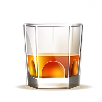 Realistico scotch wiskey, bicchiere di brandy
