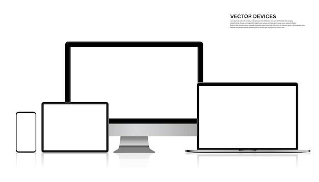 Set di schermi realistici di monitor, laptop, tablet, smartphone. illustrazione vettoriale