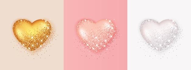 Set realistico di forma di cuore 3d isolato con glitter e luci scintillanti.