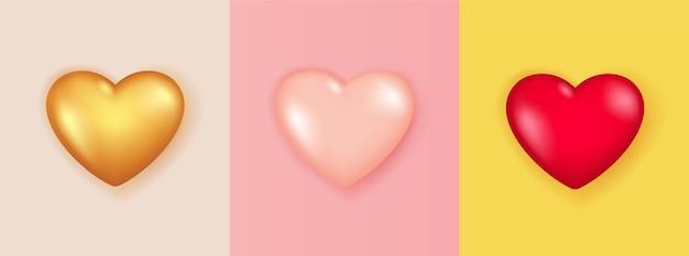 Insieme realistico di forma di cuore 3d isolato.
