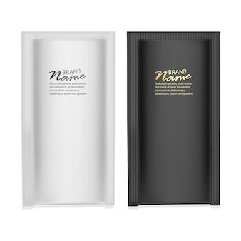 Set realistico di imballaggi in bianco e nero