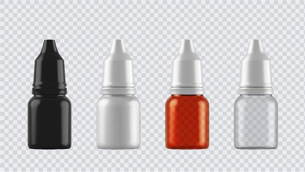 Set realistico di bottiglie isolato su trasparente