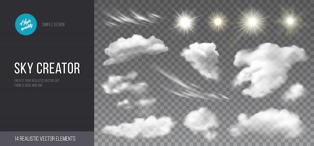 Insieme realistico di nuvole e sole.