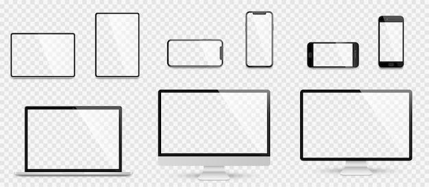 Set realistico di computer, laptop, tablet e smartphone. raccolta di mockup dello schermo del dispositivo. realistico mock up di computer, laptop, tablet, telefono con ombra