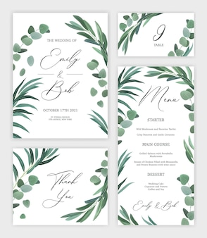 L'insieme realistico della carta dell'invito di nozze di progettazione floreale e del menu festivo ha isolato l'illustrazione