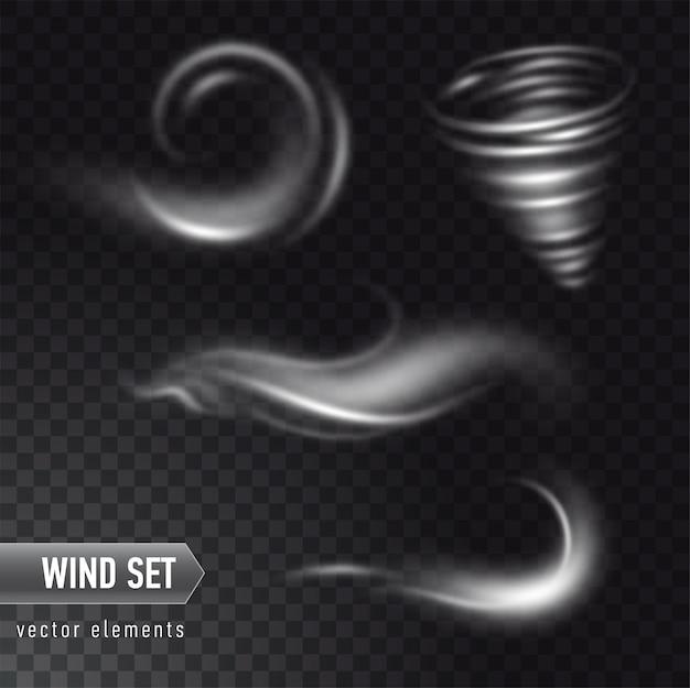 Set realistico di forte vento dettagliate o nuvola di polvere su sfondo trasparente. effetto di fumo bianco, nebbia, spray.