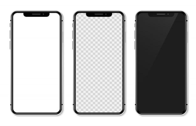 Illustrazione realistica di iphone x dell'insieme