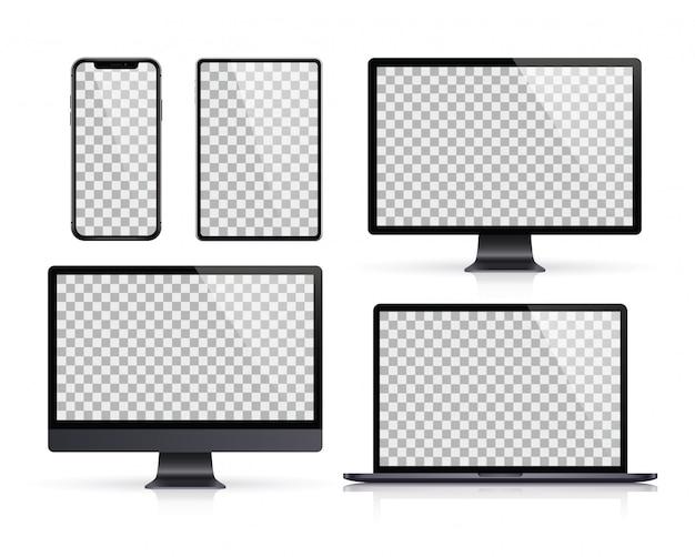 Set realistico di monitor, laptop, tablet, smartphone di colore grigio scuro