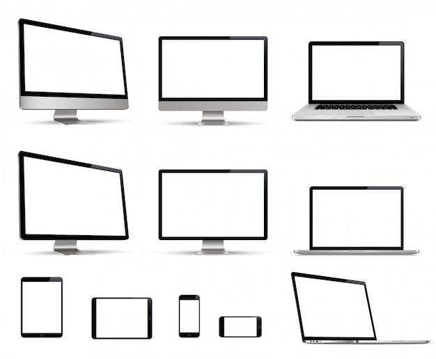 Insieme realistico di monitor, laptop, tablet, smartphone collezione di dispositivi