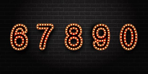 Set realistico di numeri retrò al neon per la decorazione e il rivestimento sullo sfondo del muro.