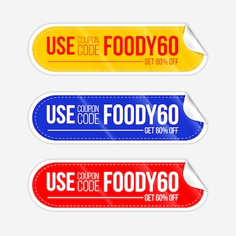 Set realistico giallo blu e rosso rotondo carta piega note coupon adesivo
