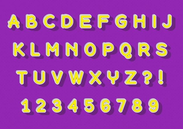 Set di numeri di alfabeti 3d con ombre realistiche