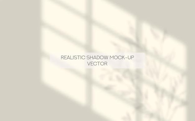 Finestra dell'ombra realistica e foglie mockup design di presentazione dei social media con ombre realistiche