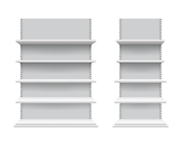 Mockup di scaffali realistici. scaffalature per negozi isolate, espositore commerciale bianco. attrezzature per la vendita al dettaglio 3d vuote, scaffali vuoti per prodotti. illustrazione di vettore della vetrina del supermercato o dell'expo.