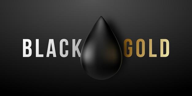 Goccia d'olio nera lucida realistica