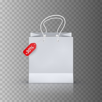 Sacchetto della spesa realistico isolato su sfondo trasparente