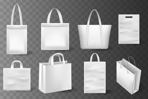 Realistico shopping bag impostato per il design del marchio e della corporate identity. borsa della spesa vuota su bianco per pubblicità e branding