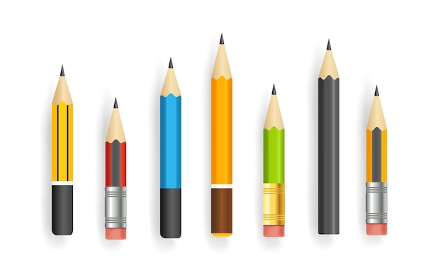 Raccolta di vettore di matite corte realistiche isolata su bianco