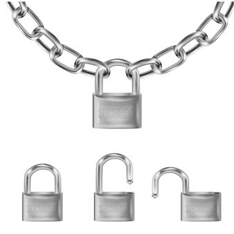 Lucchetto argento realistico su maglie di catena in metallo, lucchetto aperto e aperto con la scritta di sicurezza.
