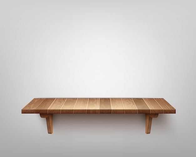 Scaffale in legno singolo realistico isolato sul fondo della parete