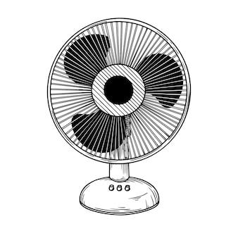 Schizzo realistico. ventilatore elettrico su sfondo bianco. illustrazione