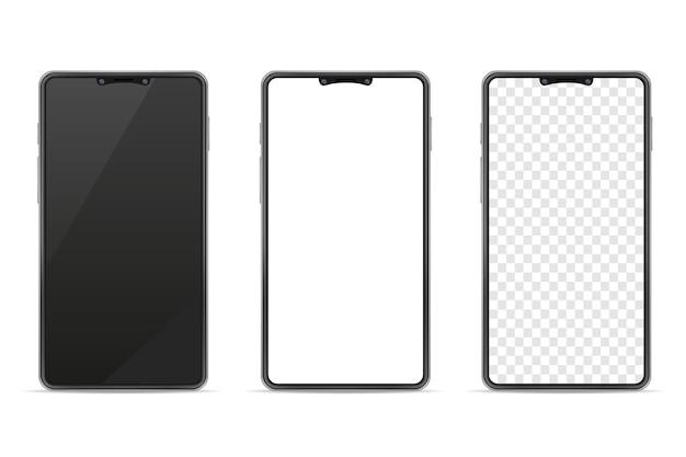 Illustrazione realistica del telefono cellulare in bianco dello smartphone isolata su fondo bianco Vettore Premium