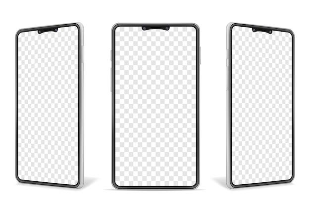 Illustrazione realistica del telefono cellulare in bianco dello smartphone isolata su fondo bianco